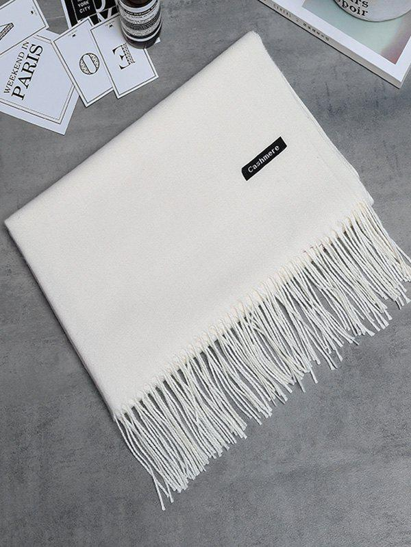 Vintage Faux Cashmere Blanket Scarf with Fringed Edge - CRYSTAL CREAM