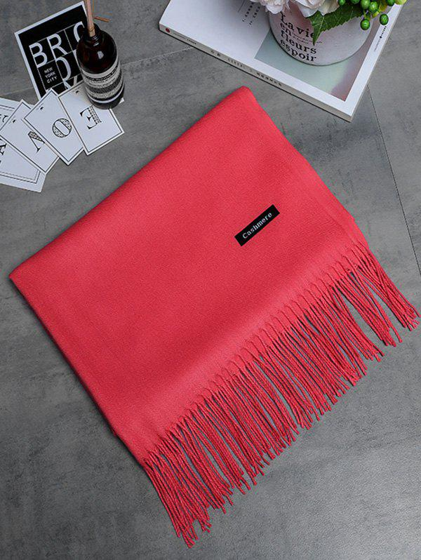 Vintage Faux Cashmere Blanket Scarf with Fringed Edge - WATERMELON RED
