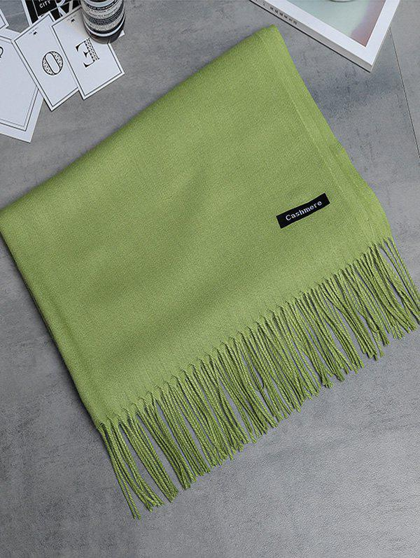 Vintage Faux Cashmere Blanket Scarf with Fringed Edge - GREEN