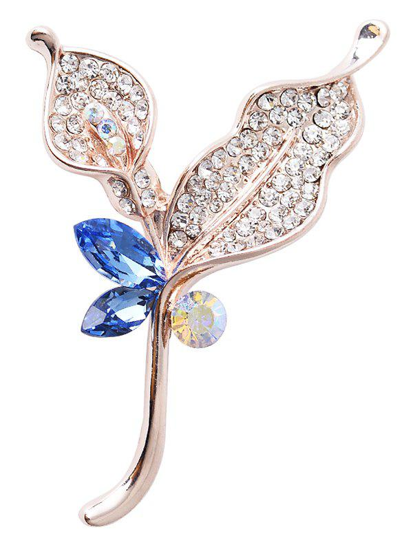 Rhinestone Faux Crystal Leaf Sparkly Brooch - BLUE