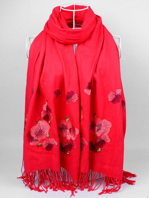 Retro Floral Embroidery Ethinc Style Fringed Scarf - BRIGHT RED