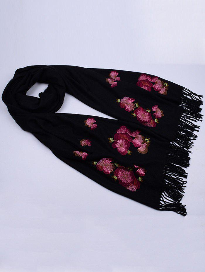 Retro Floral Embroidery Ethinc Style Fringed Scarf - BLACK