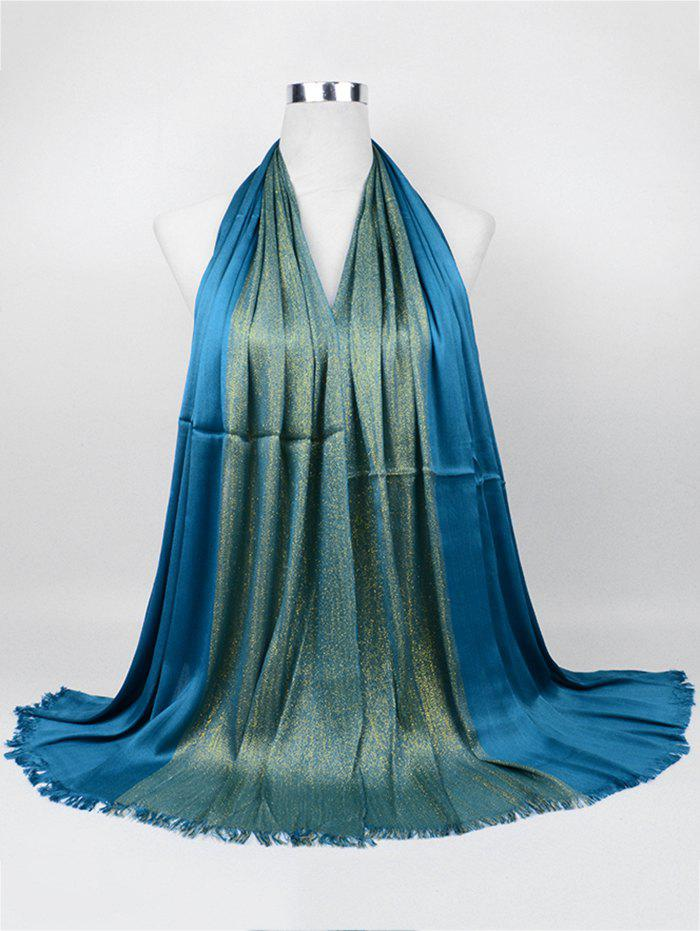 Vintage Stripes Spun Gold Tone Shawl Scarf - PEACOCK BLUE
