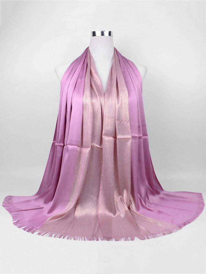 Vintage Stripes Spun Gold Tone Shawl Scarf - PINKISH PURPLE