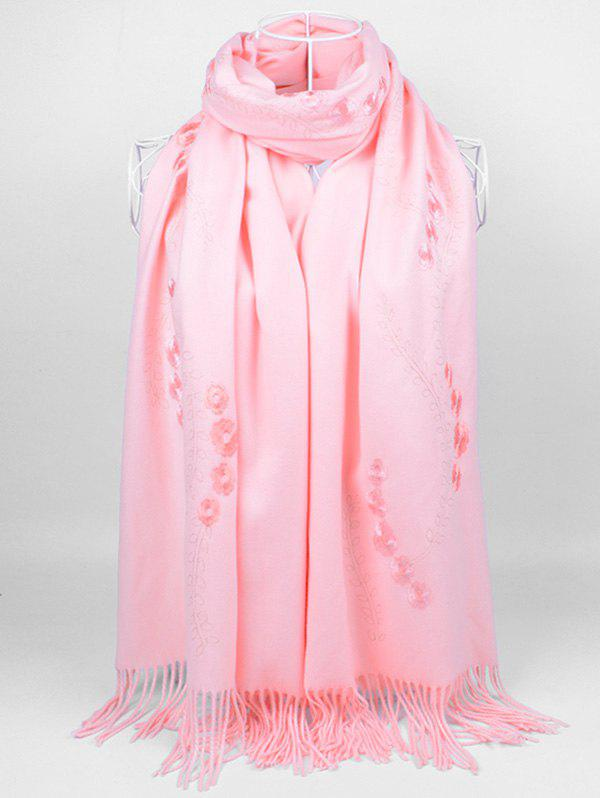 Retro Small Flower Embroidery Fringed Long Scarf - PINK