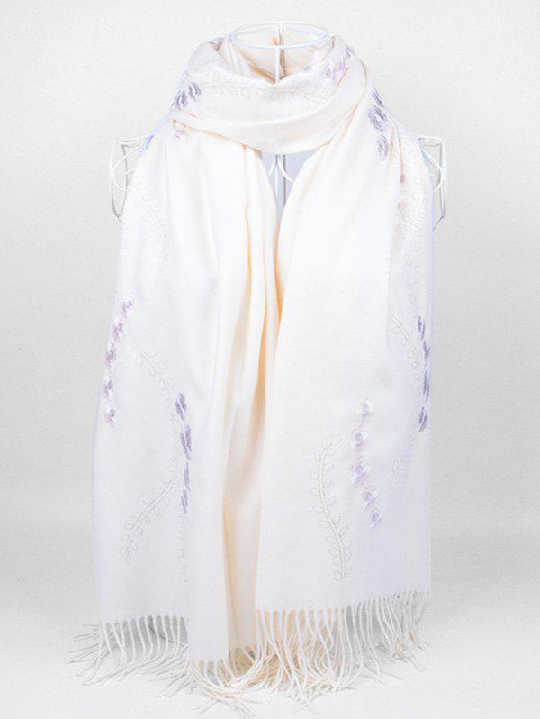 Retro Small Flower Embroidery Fringed Long Scarf - WHITE