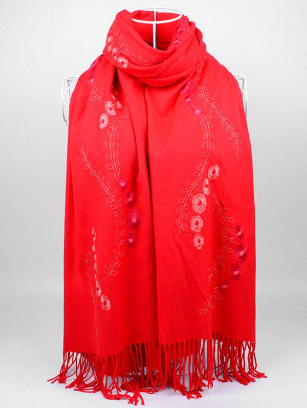 Retro Small Flower Embroidery Fringed Long Scarf - BRIGHT RED