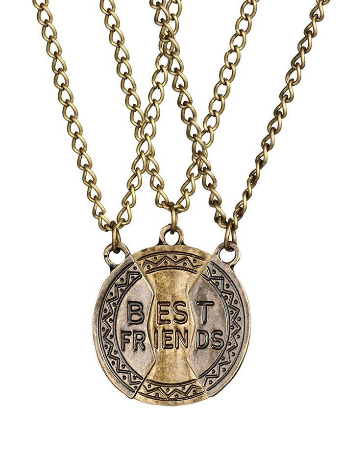 Carving Best Friend 3PCS Alloy Necklace - GOLDEN