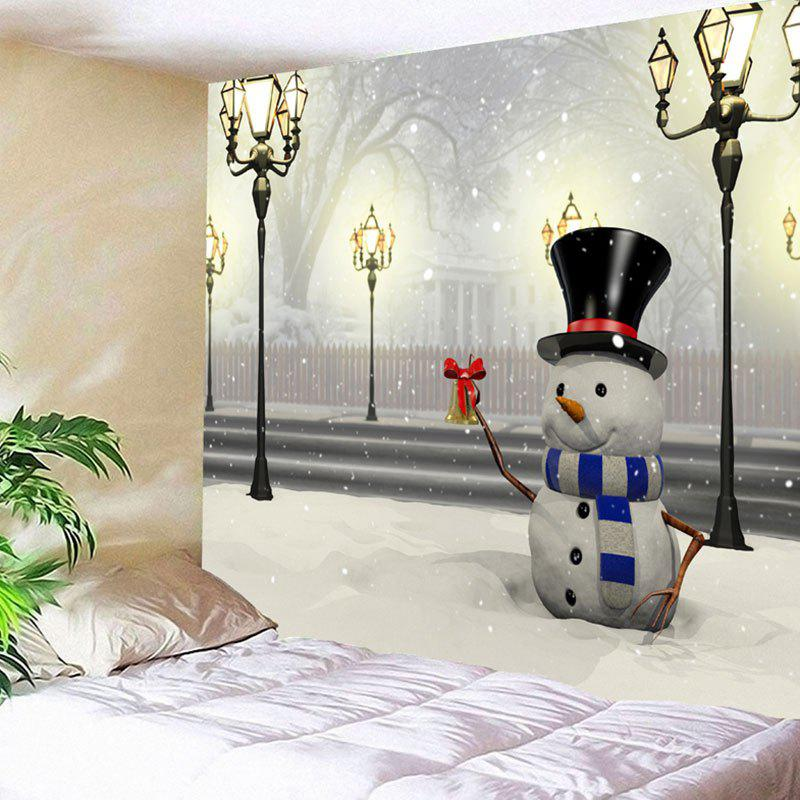Christmas Street Lamp Snowman Print Wall Tapestry