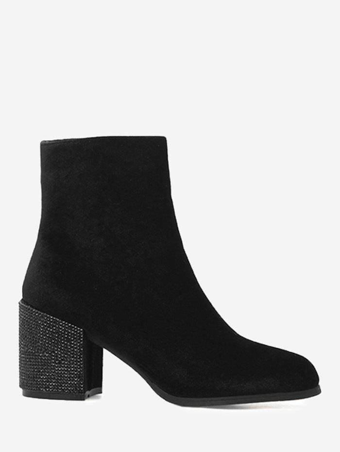 Rhinestone Block Heel Square Toe Ankle Boots high quality genuine leather and pu square heel boots size 40 41 42 43 44 rhinestone decoration zipper design round toe boots