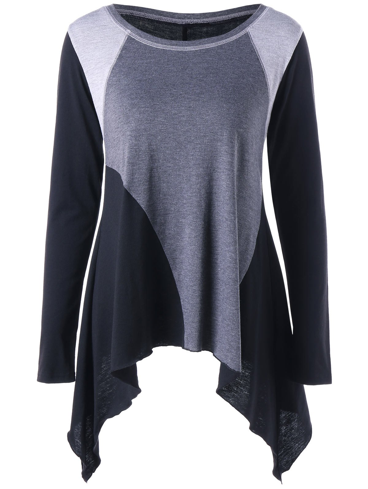 Asymmetric Color Block Long Sleeve Top - GRAY XL