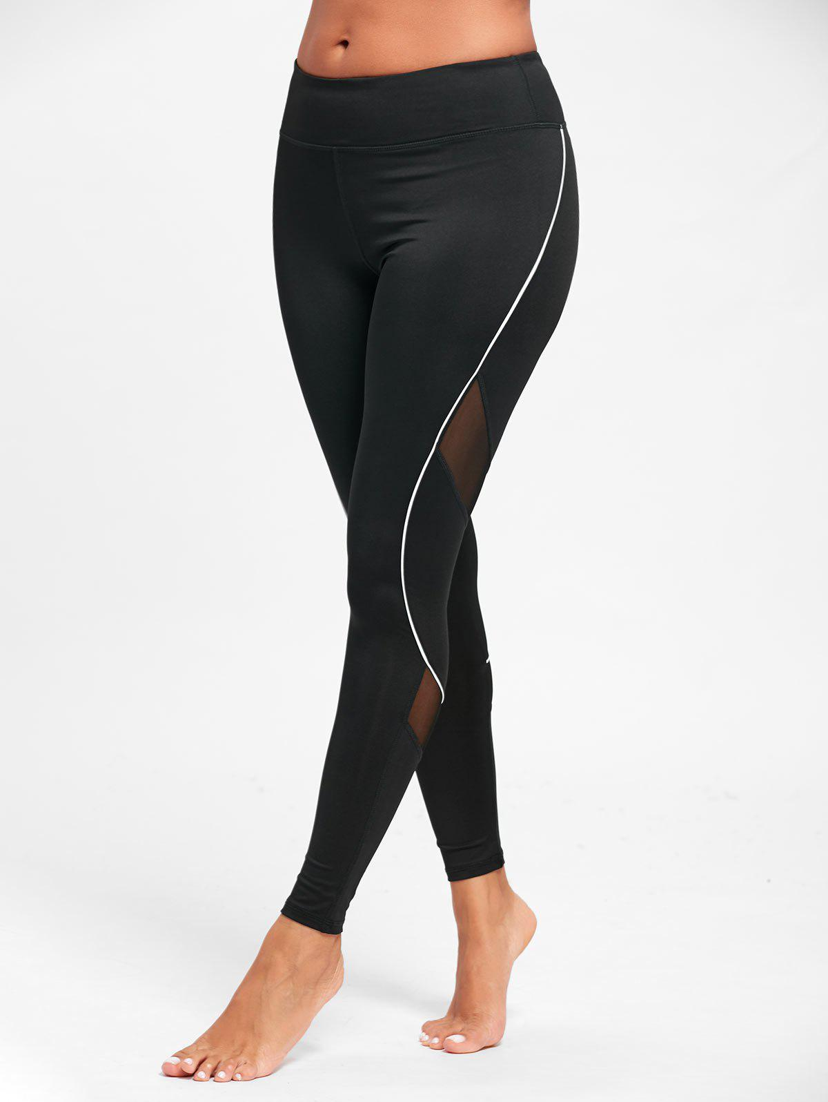 Midi Waist Contrast Tall Leggings for Sports - BLACK L