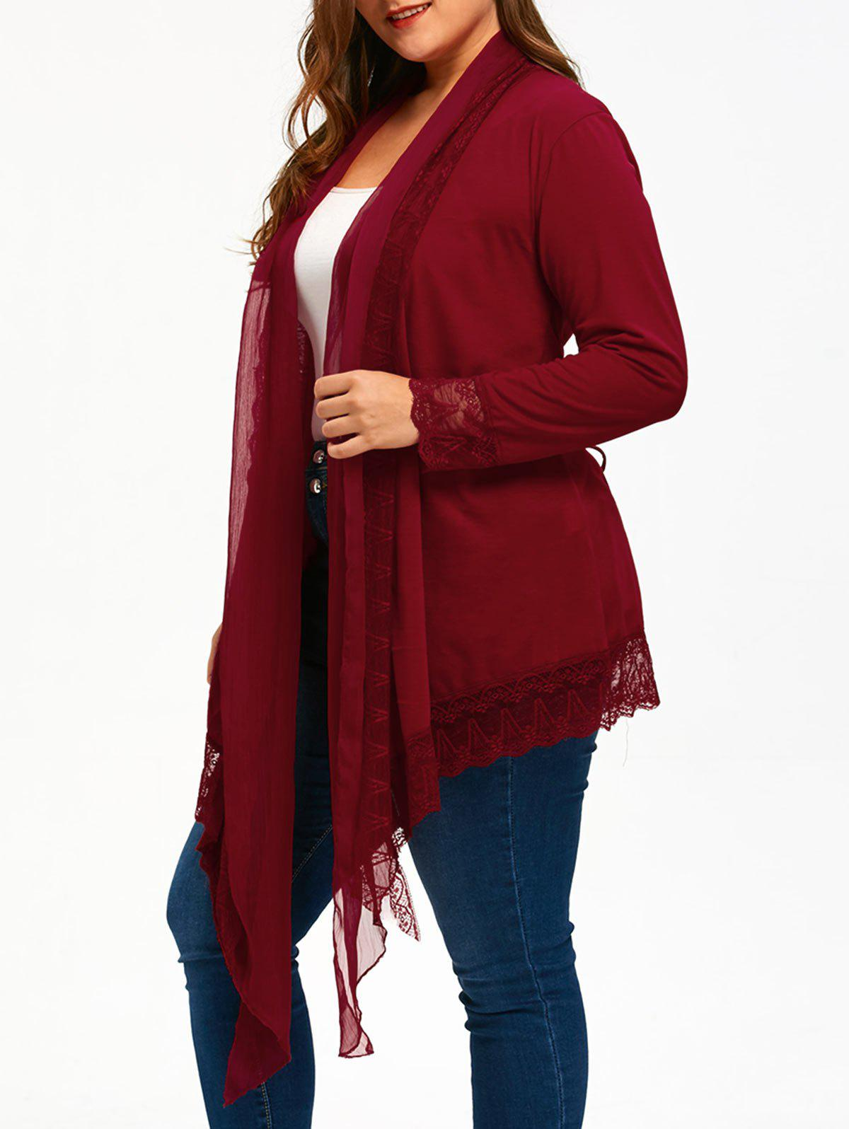 Lace Trim Plus Size Criss Cross Cardigan - WINE RED 5XL