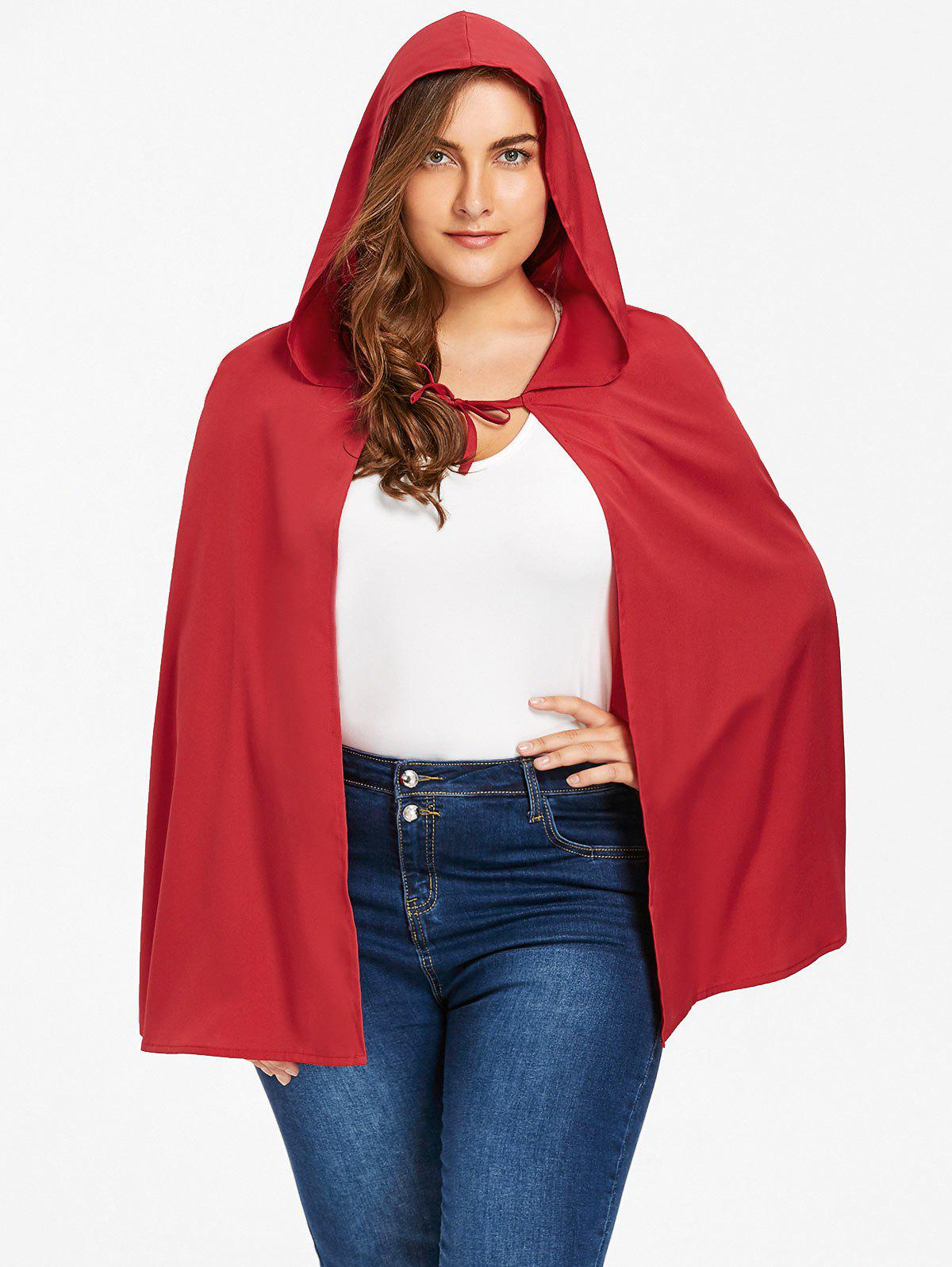 Plus Size Hooded Cape - RED 5XL