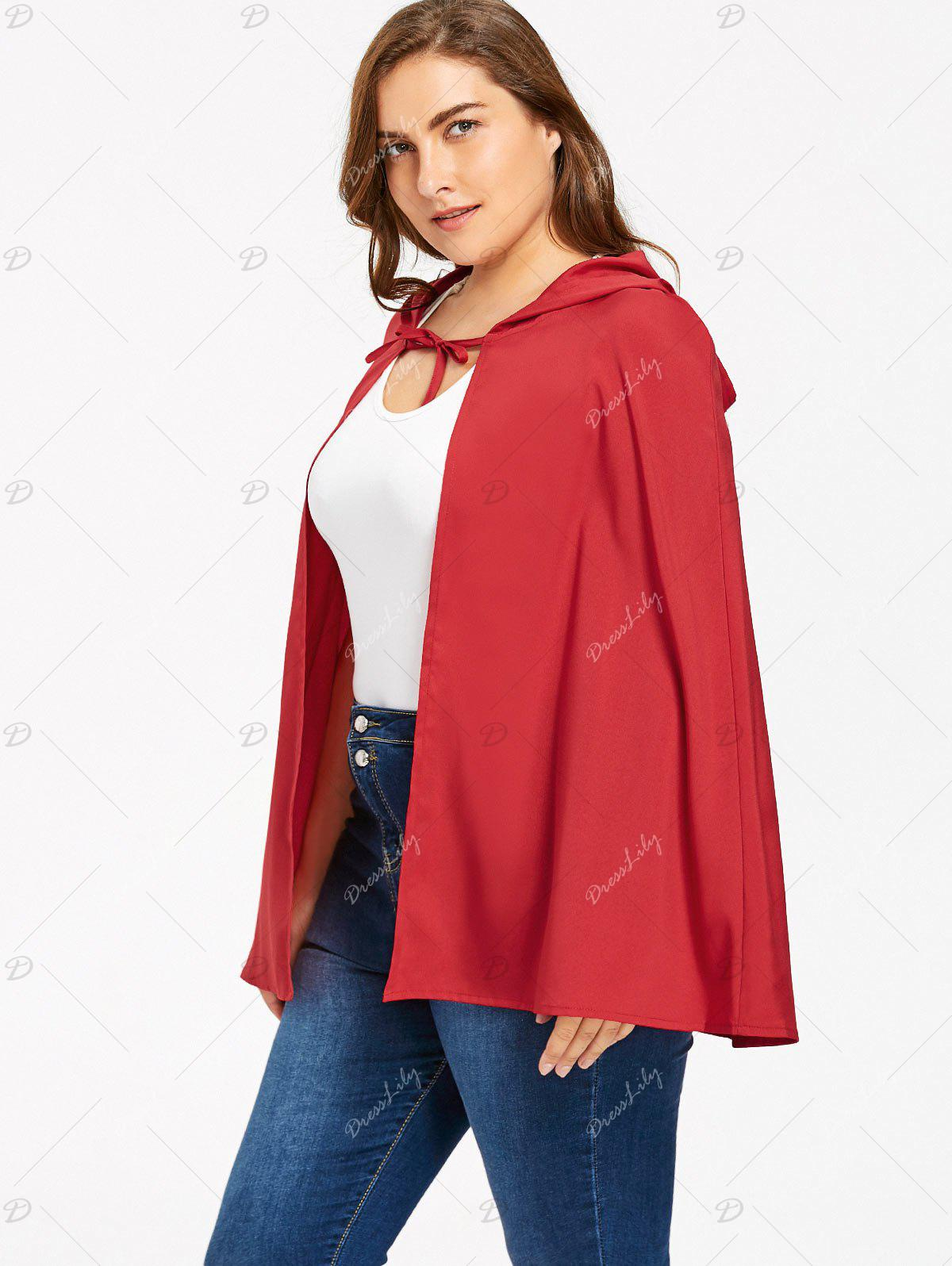 Plus Size Hooded Cape - RED 3XL