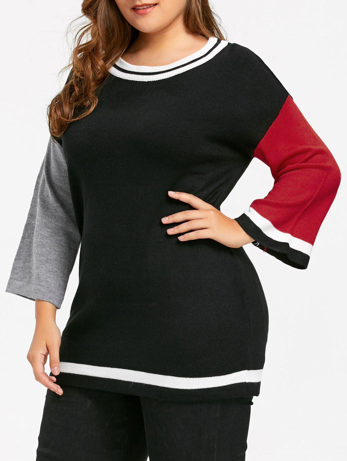 Plus Size Long Color Block  Sweater - BLACK XL