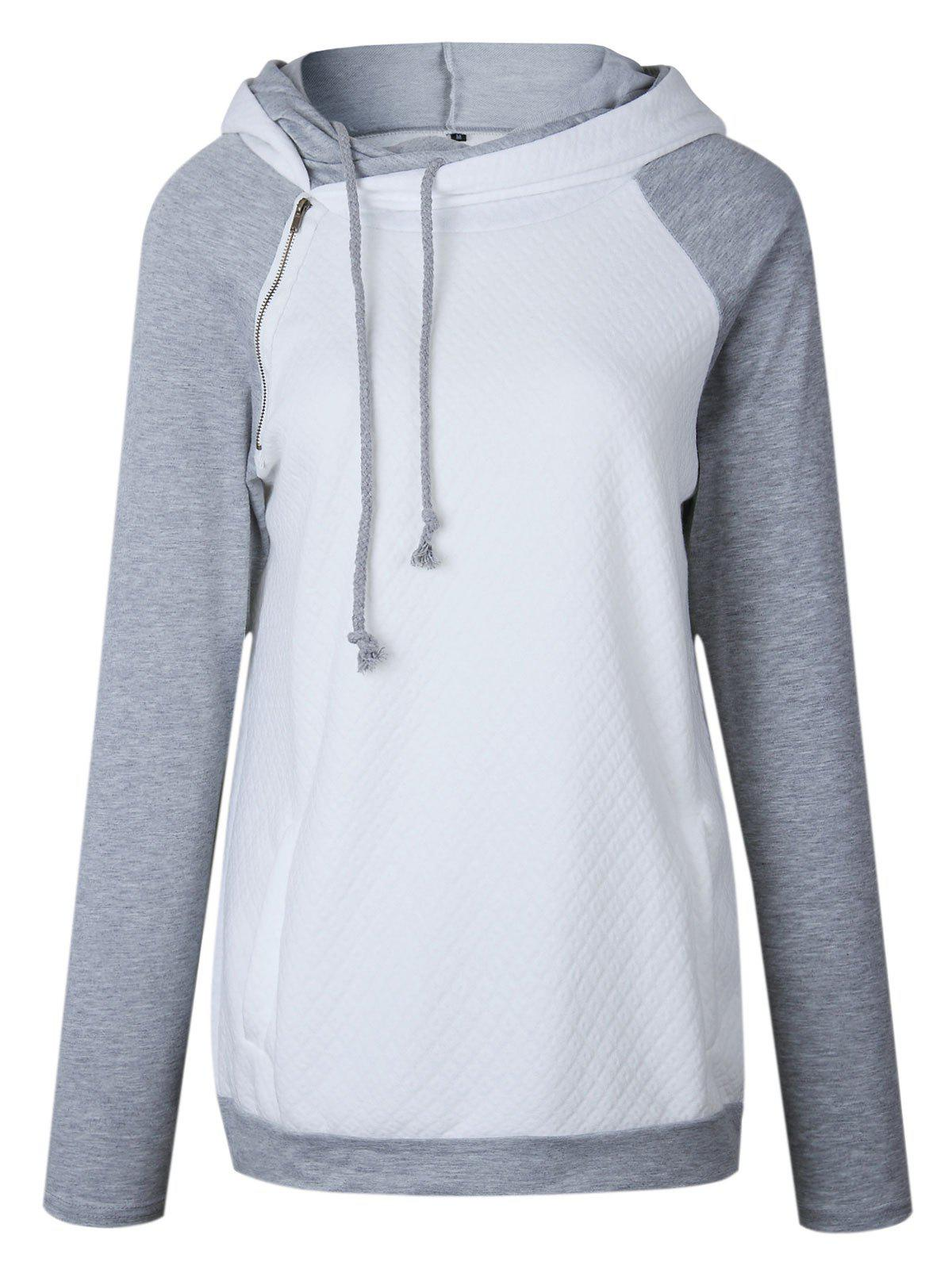 Raglan Sleeve Zippered Embellished Mock Neck Hoodie - WHITE S