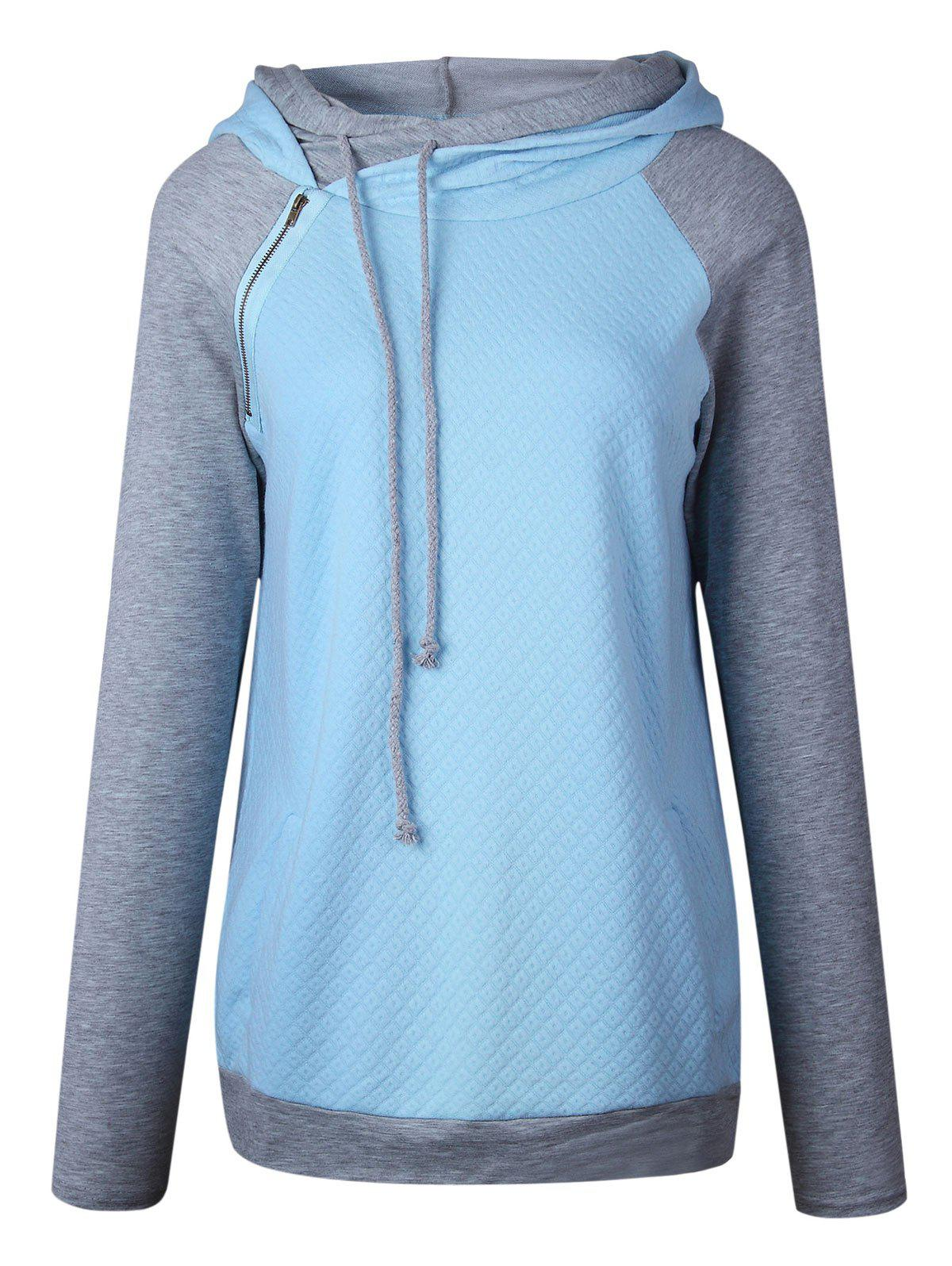 Raglan Sleeve Zippered Embellished Mock Neck Hoodie - BLUE L