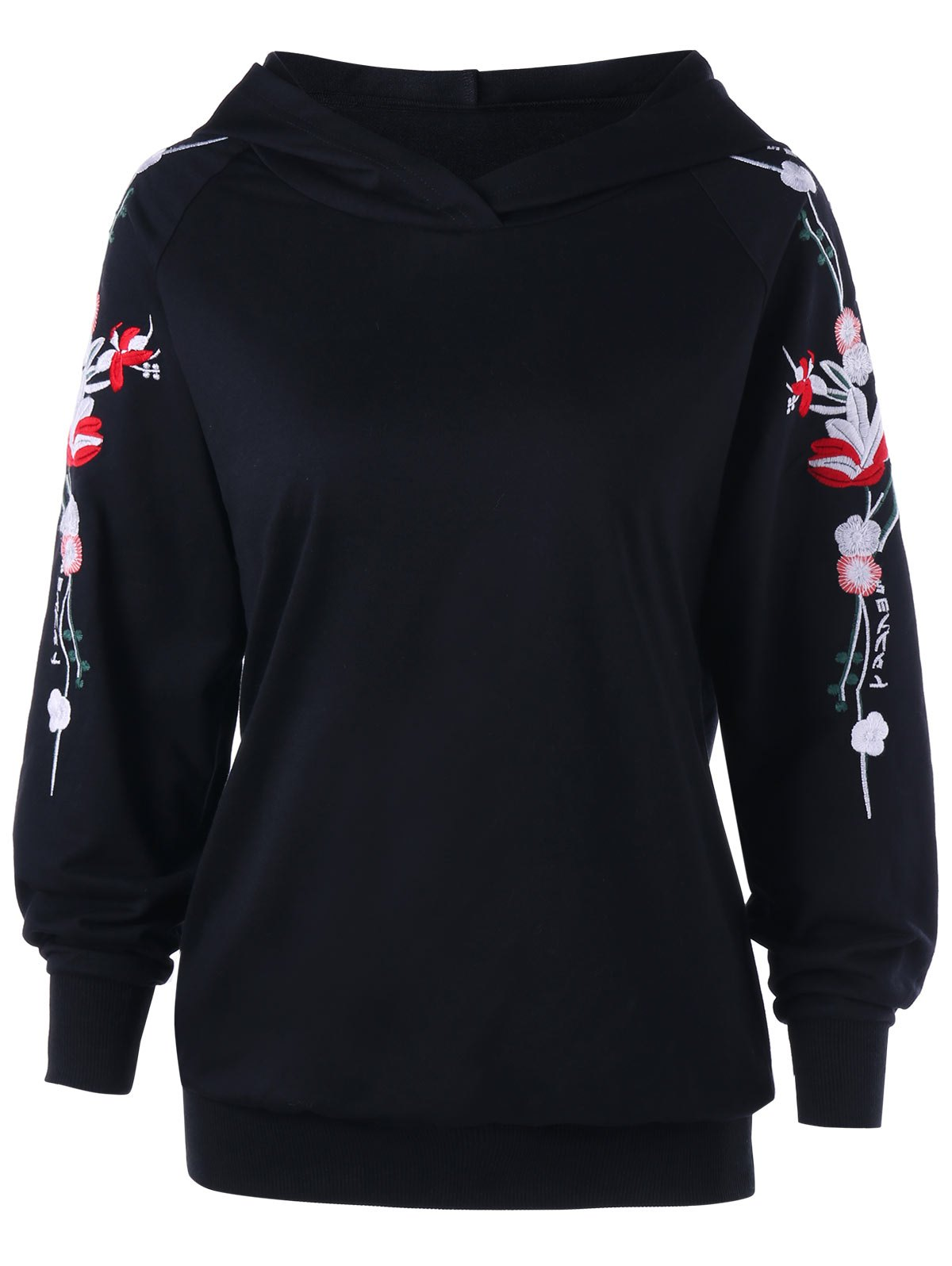 Raglan Sleeve Floral Embroidered Hoodie - BLACK M