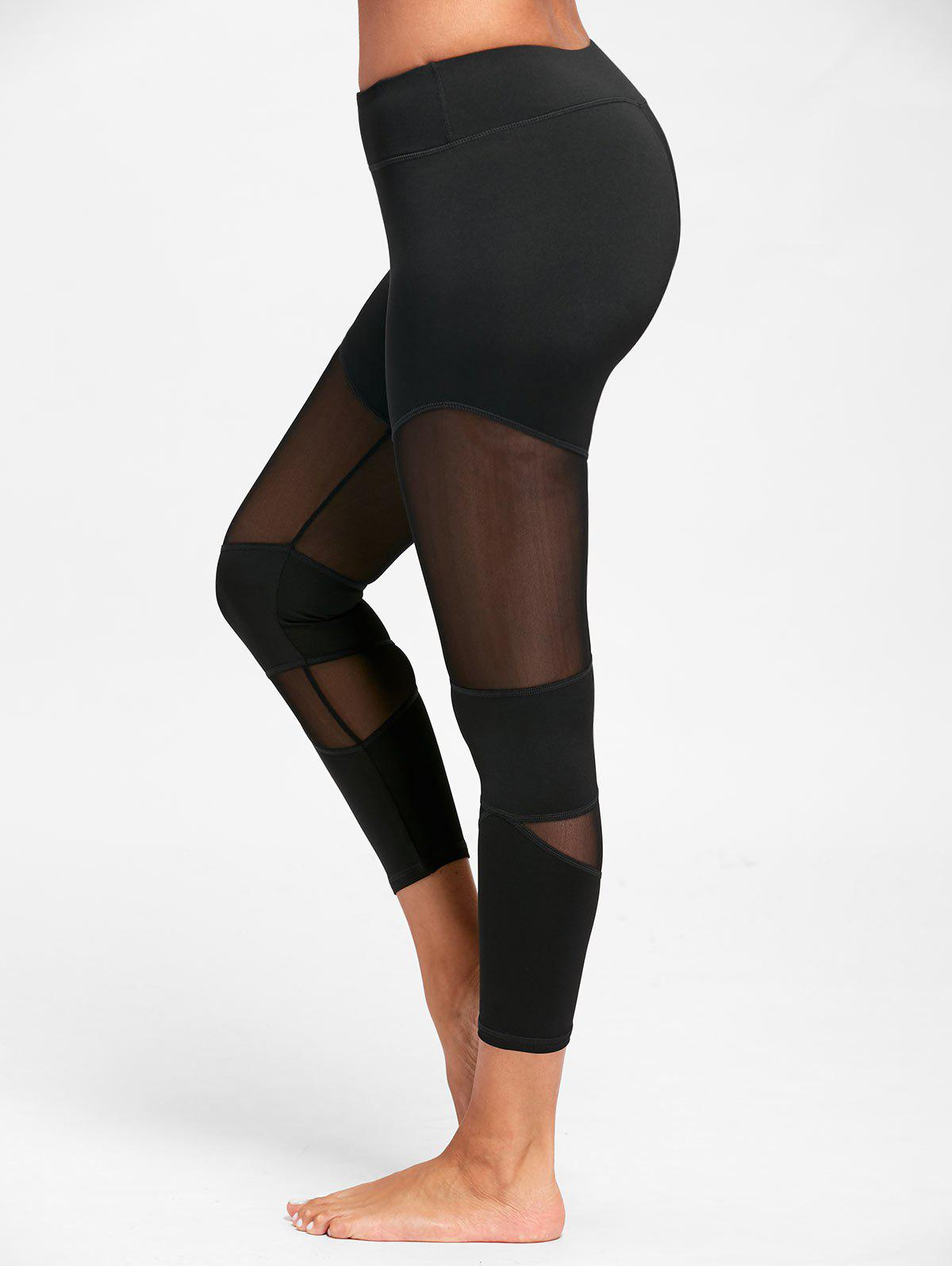 Sheer Workout  Leggings with Mesh Panel - BLACK XL