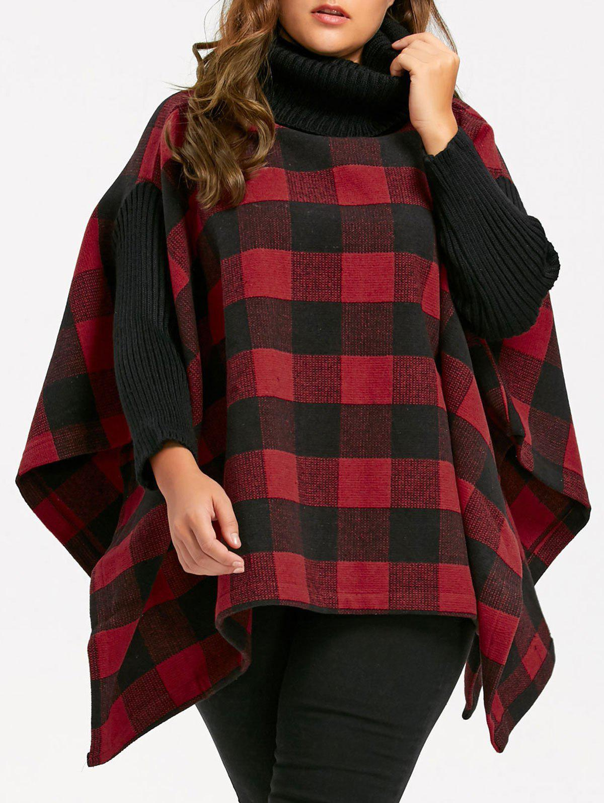 Plus Size Turtleneck Plaid Poncho Coat - RED 3XL