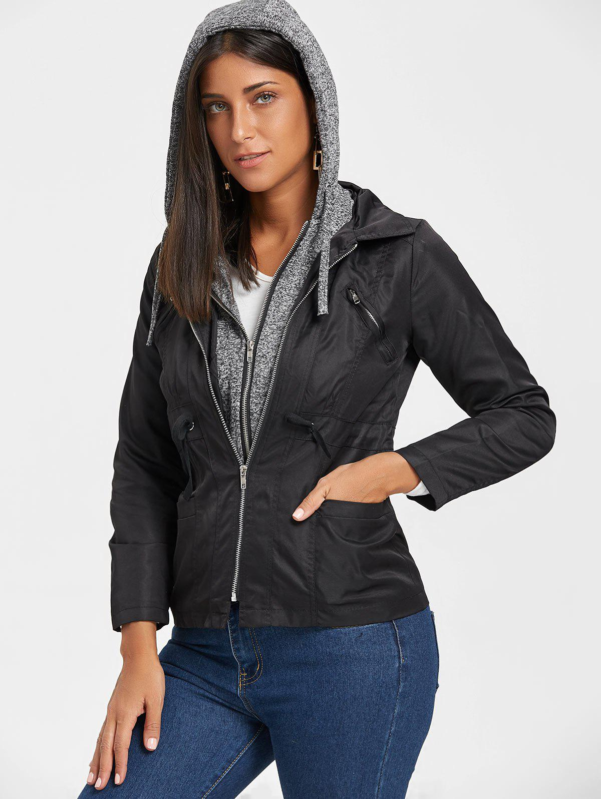 Hooded Double Zipper Faux Twinset Jacket - BLACK 2XL