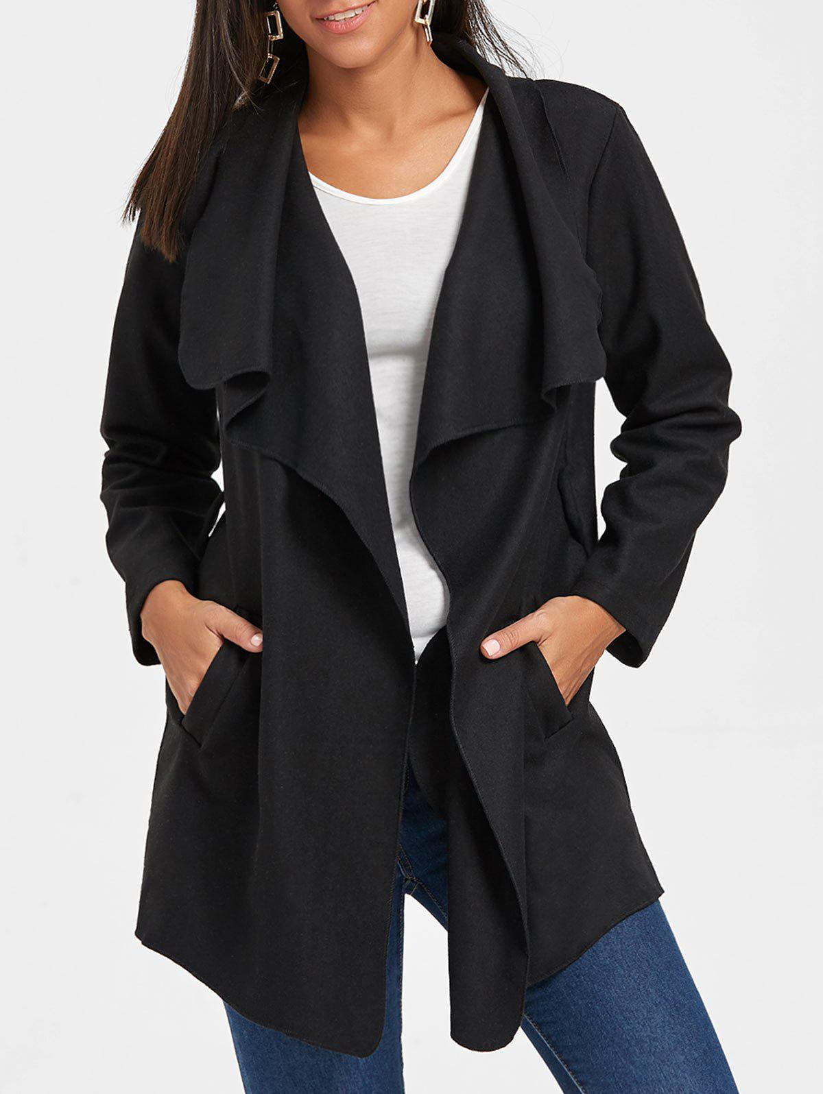 Tunic Draped Wool Coat - BLACK XL