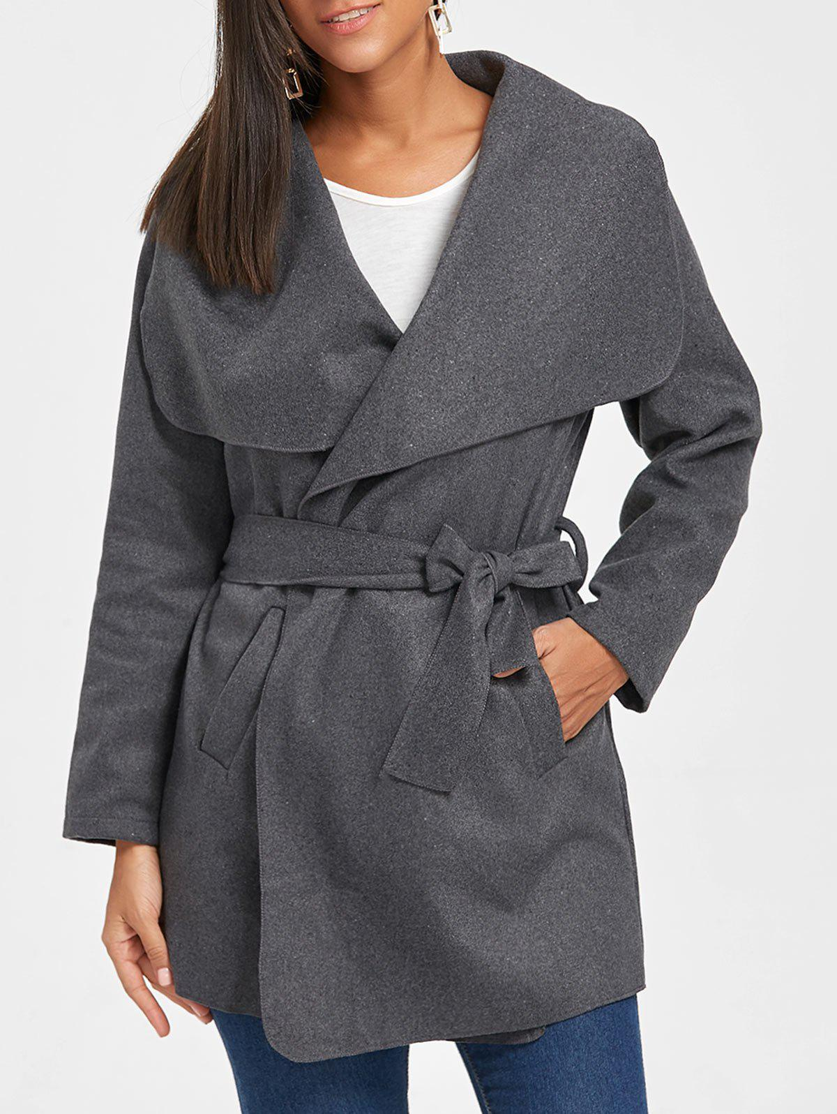 Tunic Draped Wool Coat - DARK GRAY S