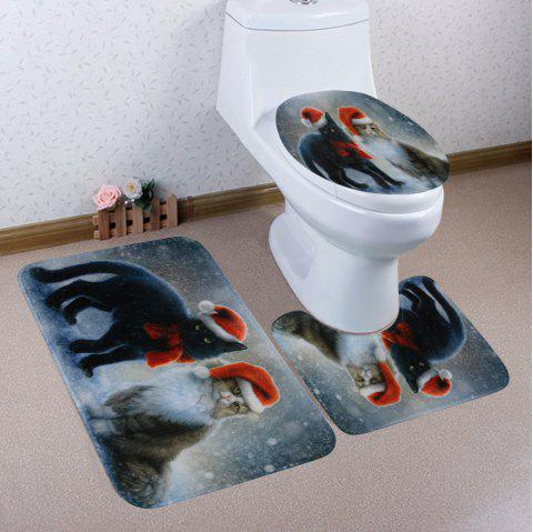 Christmas Cats Pattern 3 Pcs Bathroom Toilet Mat - COLORMIX