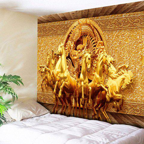 Wall Art Unicorns and Dragon Print Tapestry - GOLDEN W79 INCH * L59 INCH