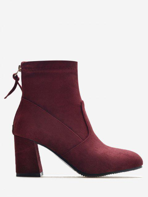 High Heel Pointed Toe Ankle Boots - WINE RED 38