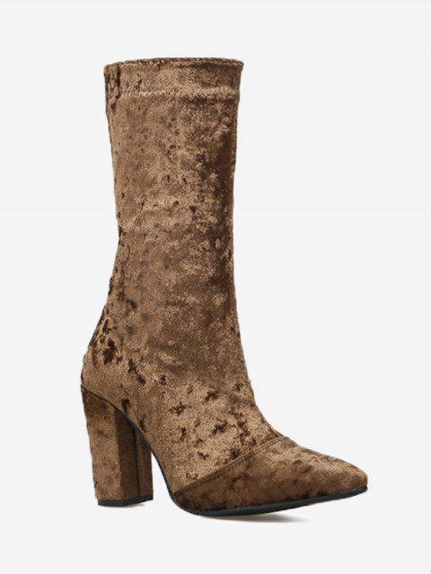 Block Heel Pointed Toe Mid Calf Boots - BROWN 37