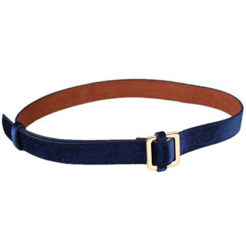 Retro Metal Square Buckle Decorated Skinny Belt - BLUE