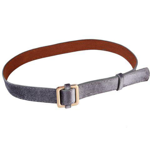 Retro Metal Square Buckle Decorated Skinny Belt - FROST