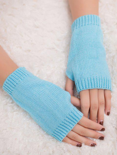 Outdoor Crochet Exposed Finger Gloves - LIGHT BLUE