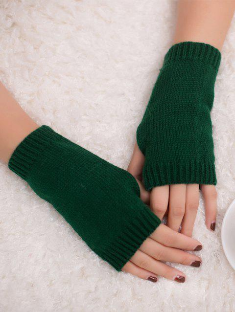 Outdoor Crochet Exposed Finger Gloves - BLACKISH GREEN