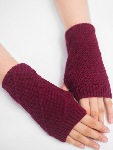 Striped Pattern Exposed Finger Knitted Gloves - WINE RED