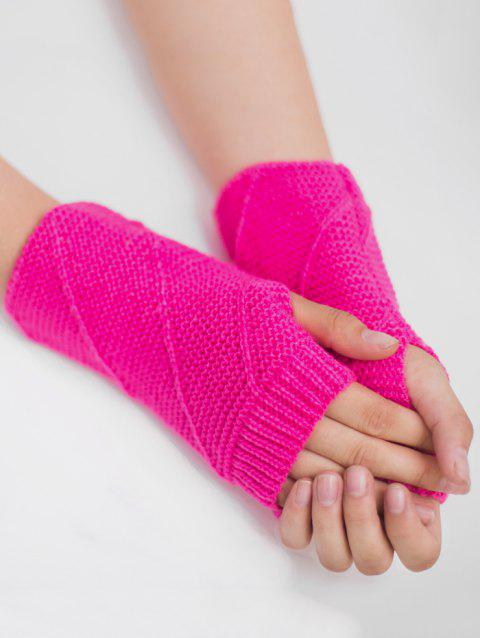 Striped Pattern Exposed Finger Knitted Gloves - FLUORESCENT ROSE RED
