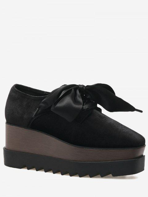 Square Toe Tie Up Wedge Shoes - BLACK 37
