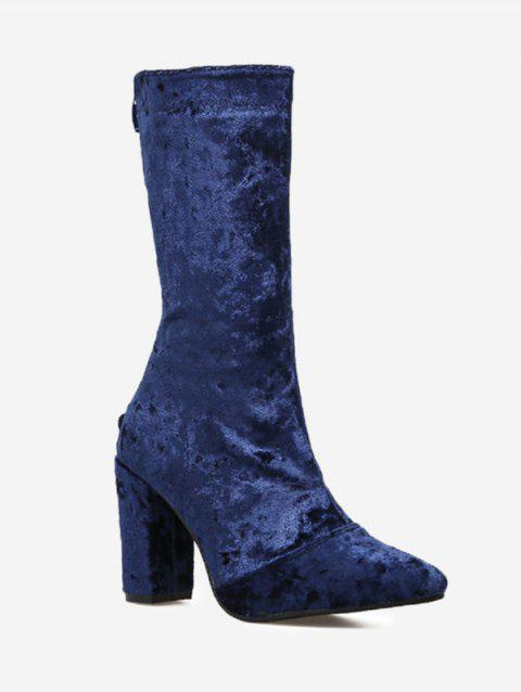 Block Heel Pointed Toe Mid Calf Boots - BLUE 40