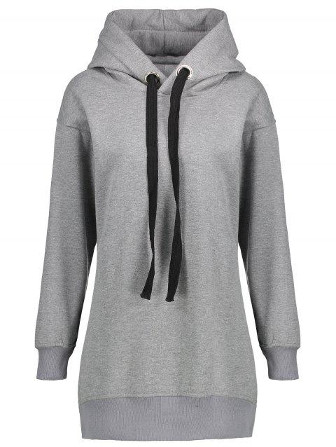 Plus Size Fleece Lined Zipper Slit Hoodie - GRAY 3XL