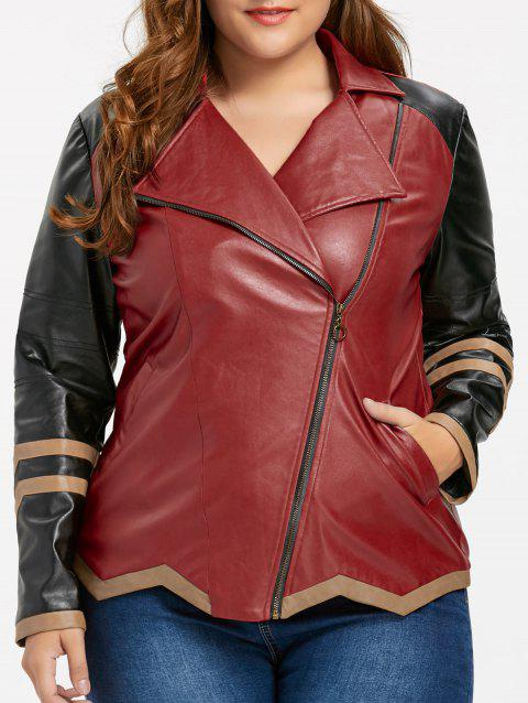 41 Off 2019 Faux Leather Plus Size Color Block Jacket In Wine Red