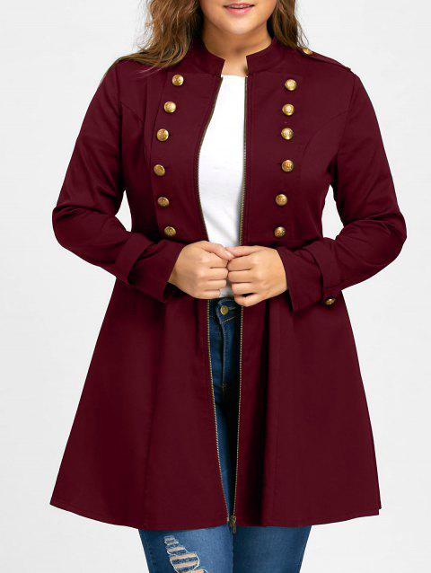 Plus Size Double Breasted Flare Coat - WINE RED 2XL