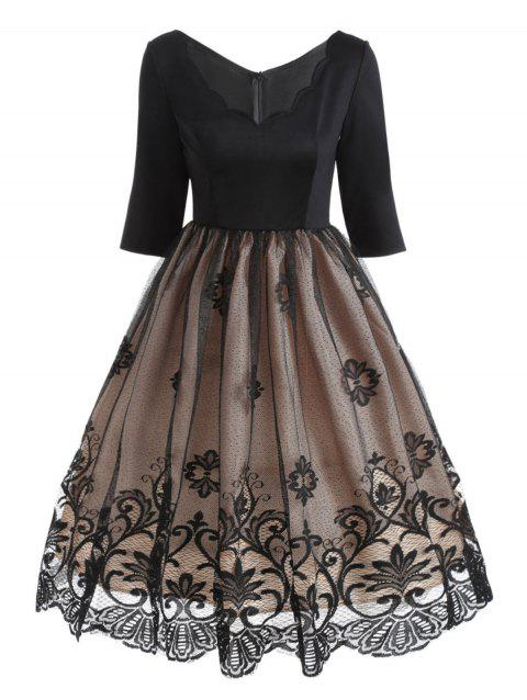 Floral Lace Panel V Neck Vintage Dress - BLACK L