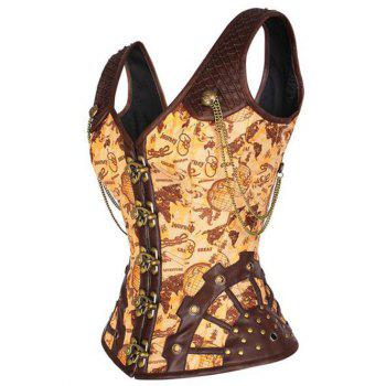 Pirate Punk Studded Lace Up  Overbust Corset Vest - YELLOW YELLOW