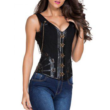 Pirate Punk Studded Lace Up  Overbust Corset Vest - BLACK S