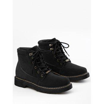 Lace Up Stitching Ankle Boots - BLACK 36