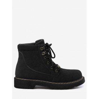 Lace Up Stitching Ankle Boots - BLACK BLACK
