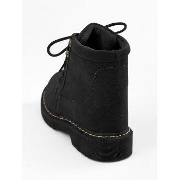 Lace Up Stitching Ankle Boots - 38 38