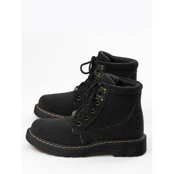 Lace Up Stitching Ankle Boots - BLACK 39